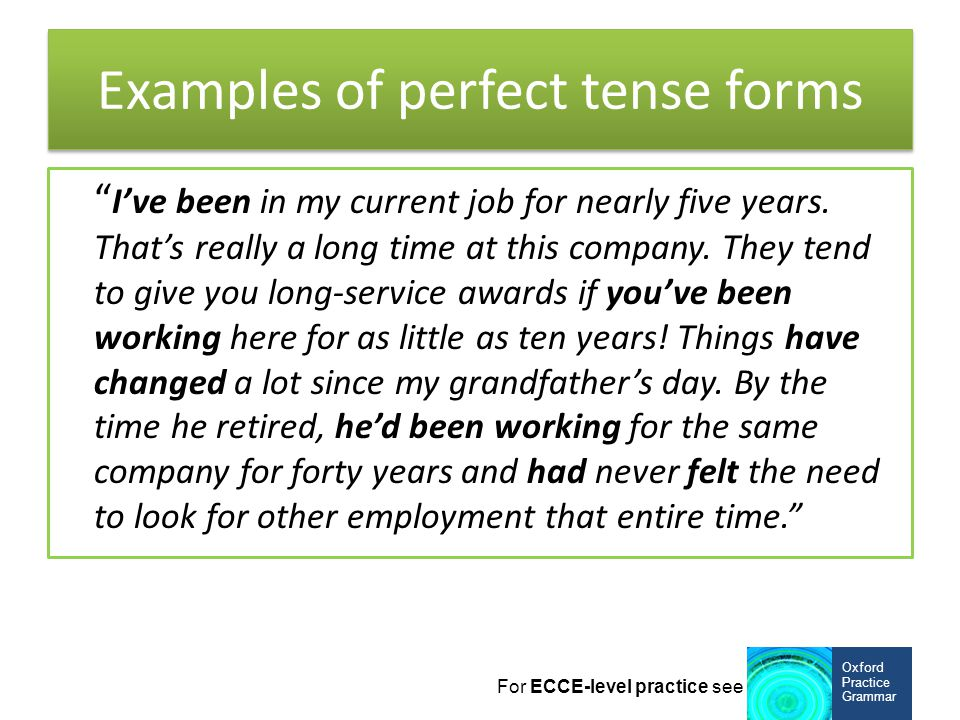Examples of perfect tense forms