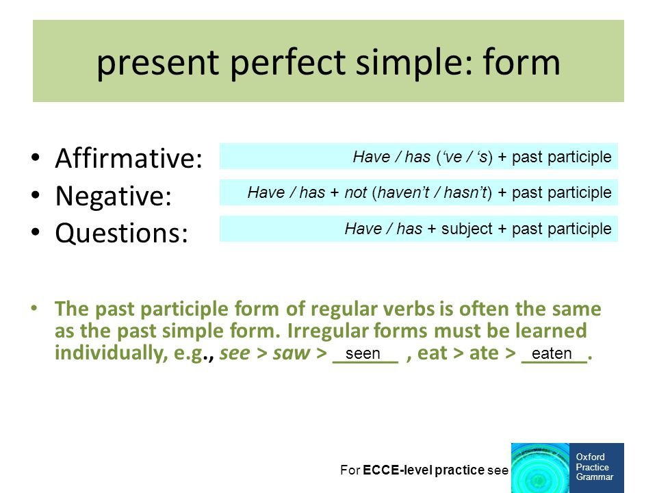 present perfect simple: form