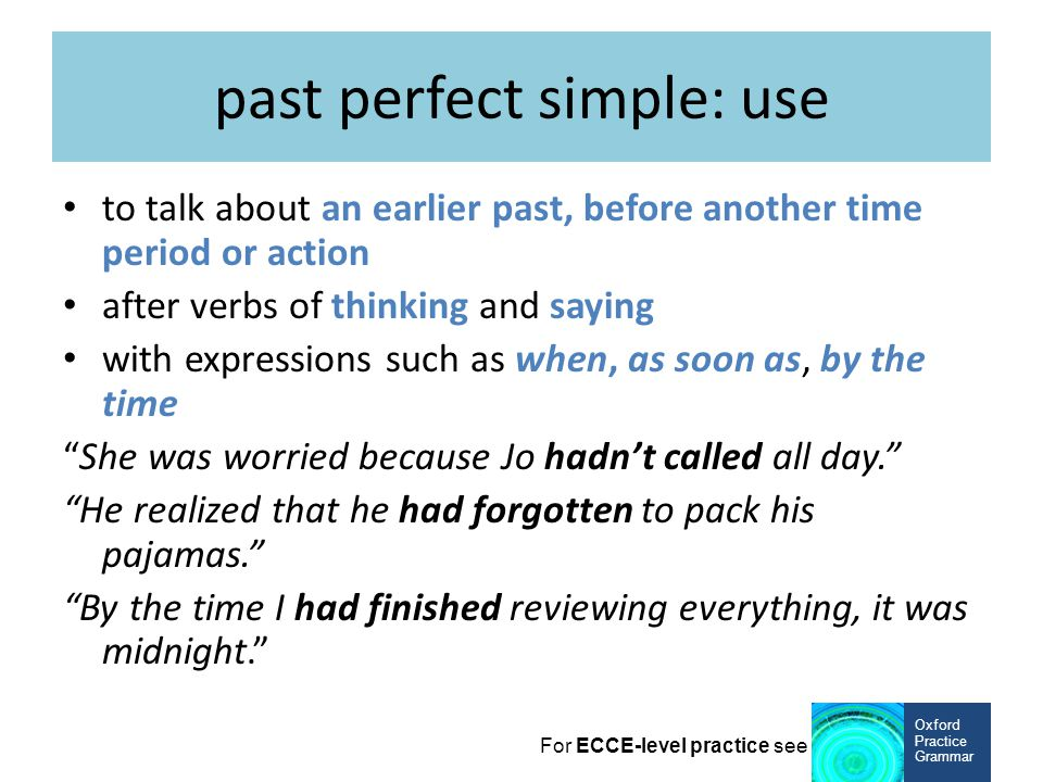 past perfect simple: use