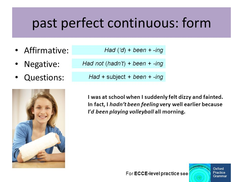 past perfect continuous: form
