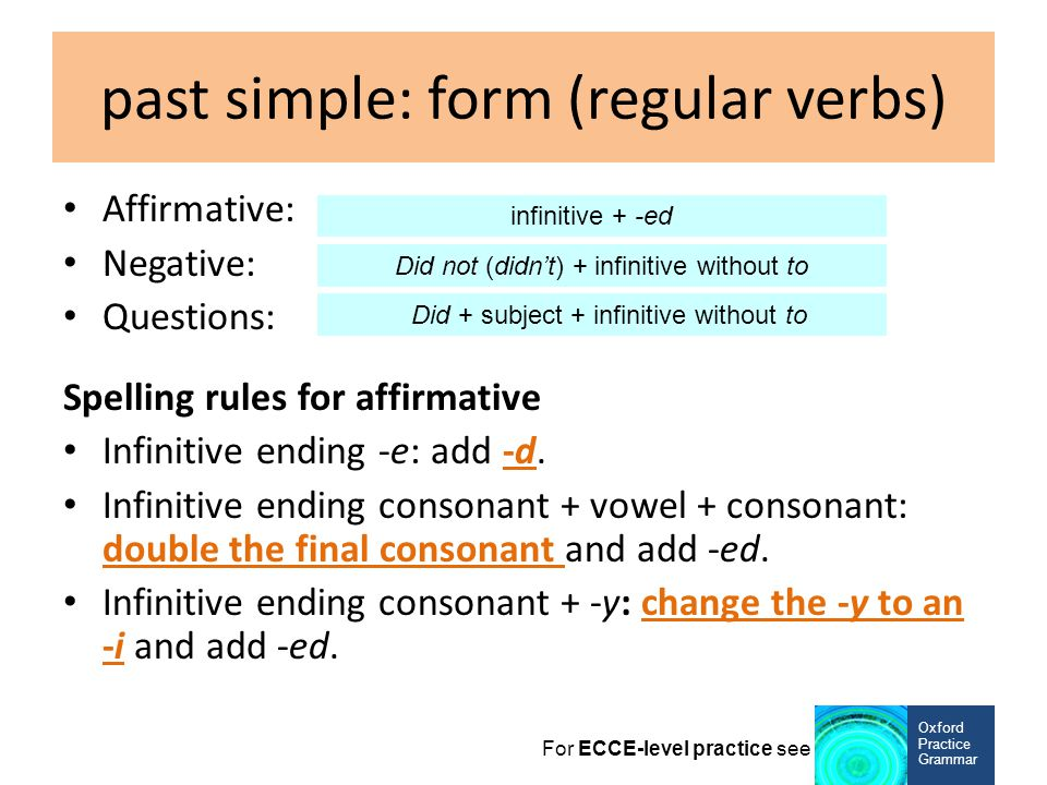 past simple: form (regular verbs)