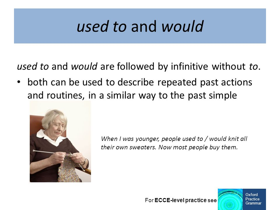 used to and would used to and would are followed by infinitive without to.