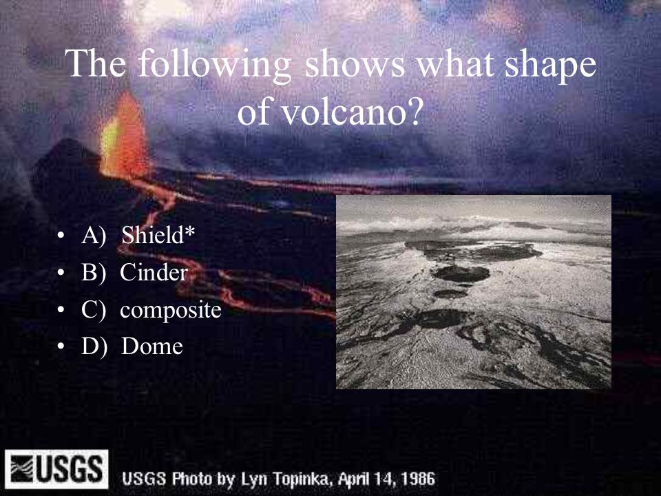 The following shows what shape of volcano