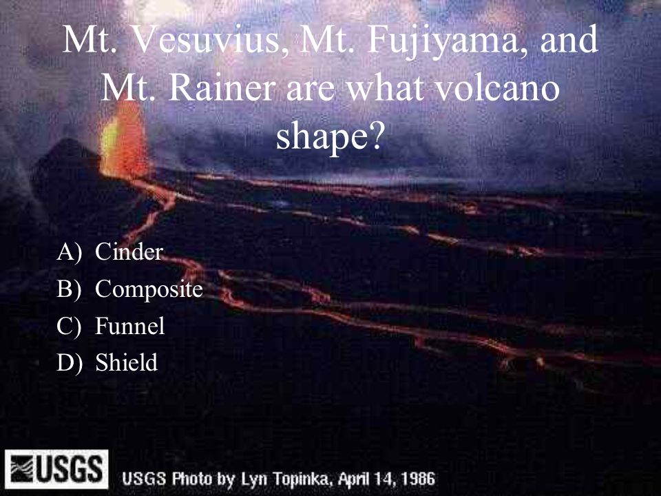 Mt. Vesuvius, Mt. Fujiyama, and Mt. Rainer are what volcano shape
