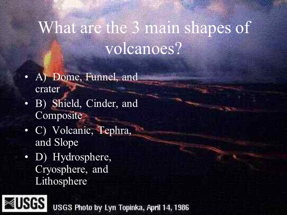 What are the 3 main shapes of volcanoes