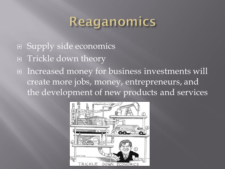 Reaganomics Supply side economics Trickle down theory