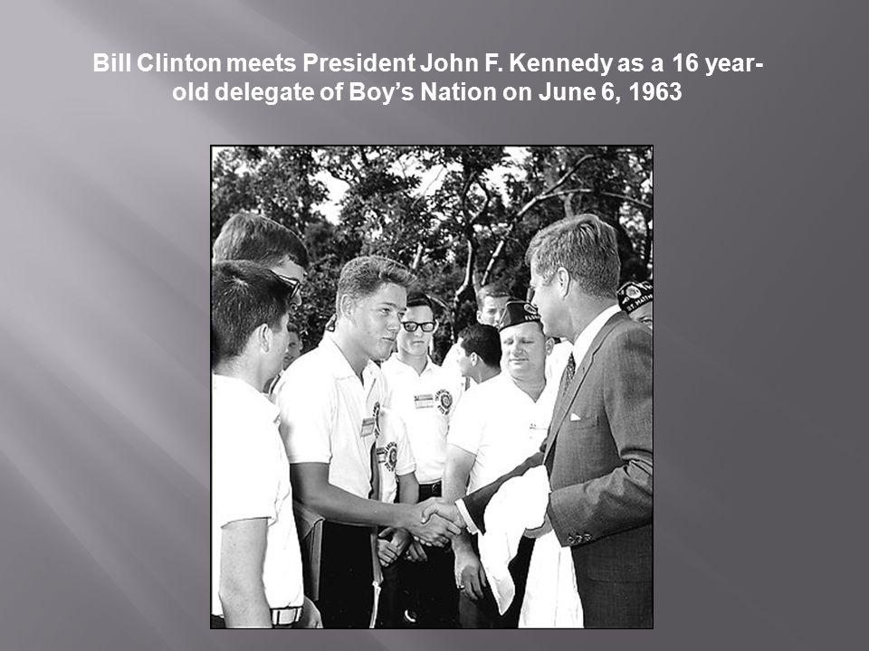 Bill Clinton meets President John F
