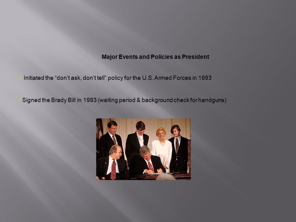 Major Events and Policies as President