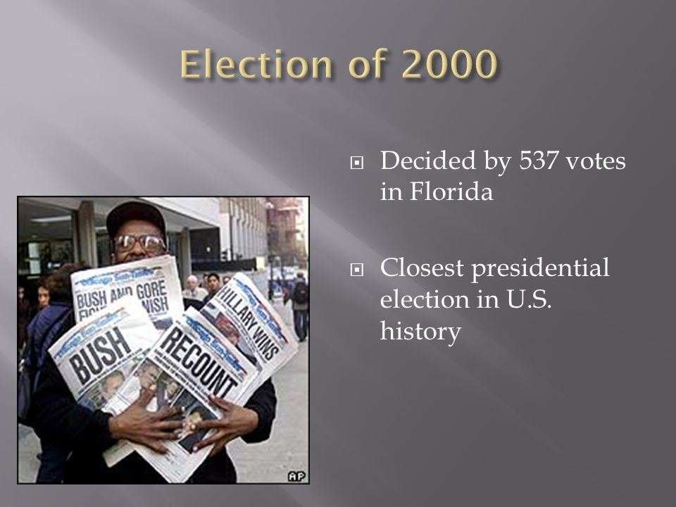 Election of 2000 Decided by 537 votes in Florida