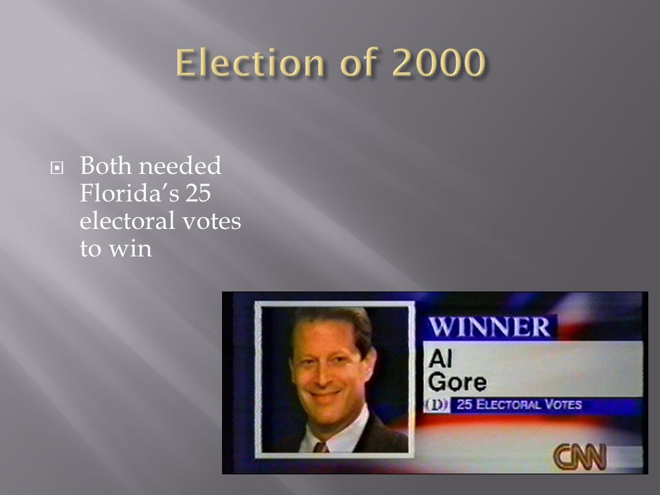 Election of 2000 Both needed Florida's 25 electoral votes to win