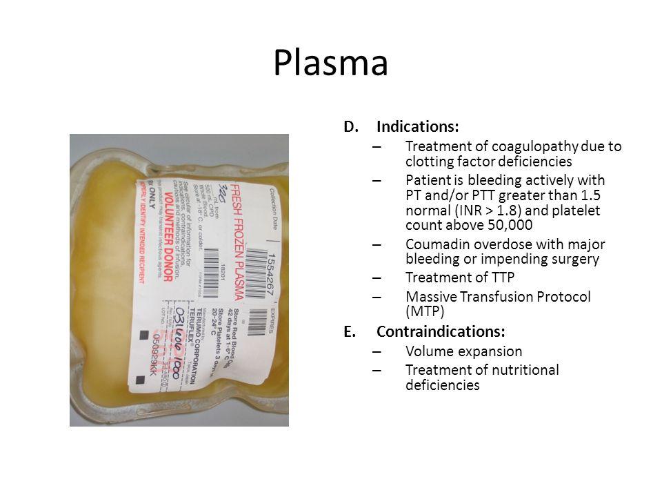 Plasma Indications: Contraindications: