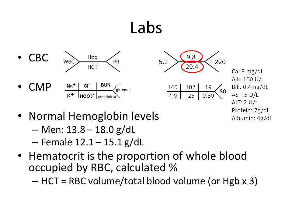 Labs CBC CMP Normal Hemoglobin levels