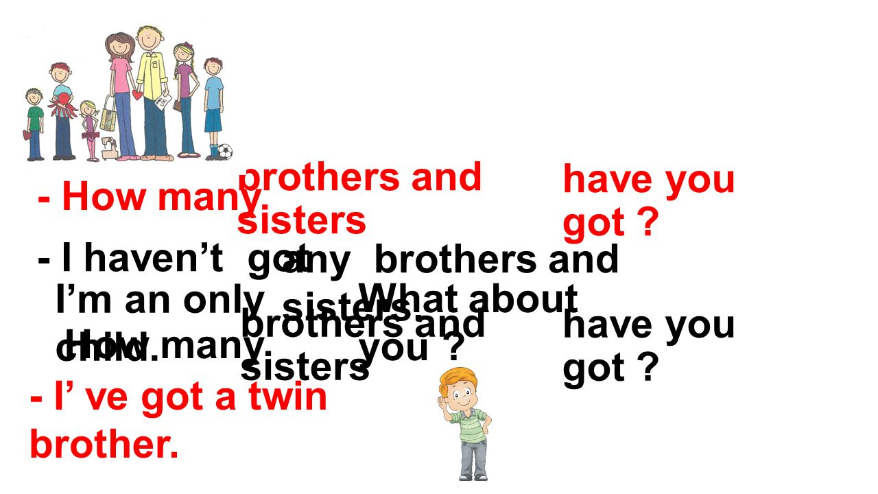 - How many brothers and sisters. have you got - I haven't got. any brothers and sisters. I'm an only child.