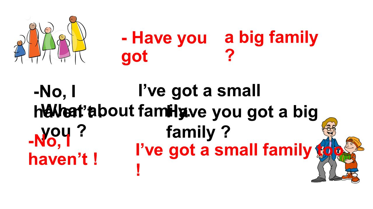 - Have you got a big family -No, I haven't . I've got a small family. What about you Have you got a big family