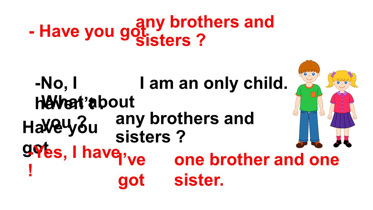 - Have you got any brothers and sisters -No, I haven't . I am an only child. What about you any brothers and sisters