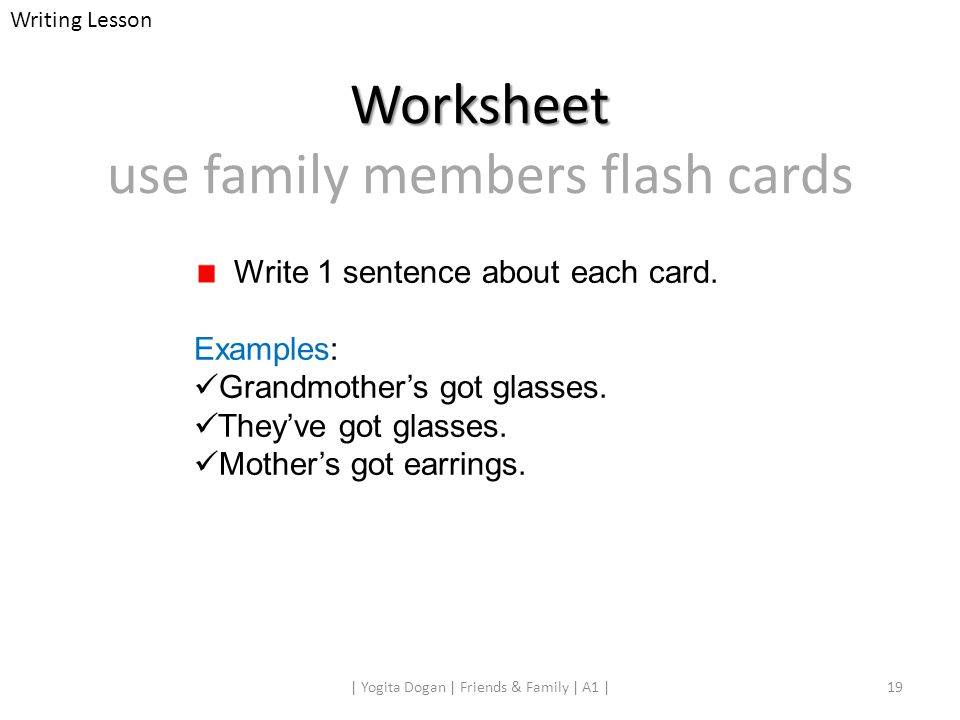 Worksheet use family members flash cards