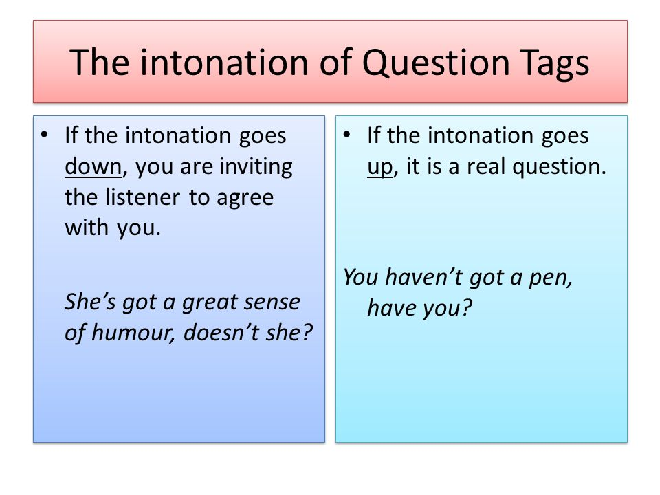 The intonation of Question Tags