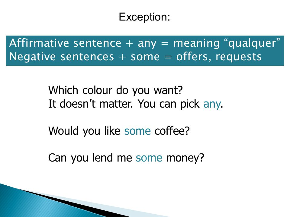 Exception: Affirmative sentence + any = meaning qualquer Negative sentences + some = offers, requests.