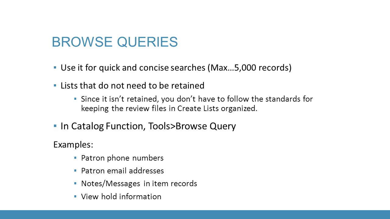 Browse queries In Catalog Function, Tools>Browse Query