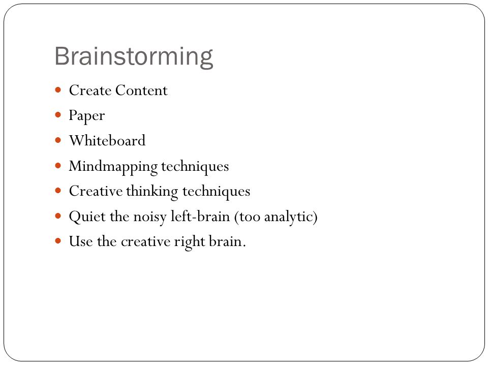 Brainstorming Create Content Paper Whiteboard Mindmapping techniques