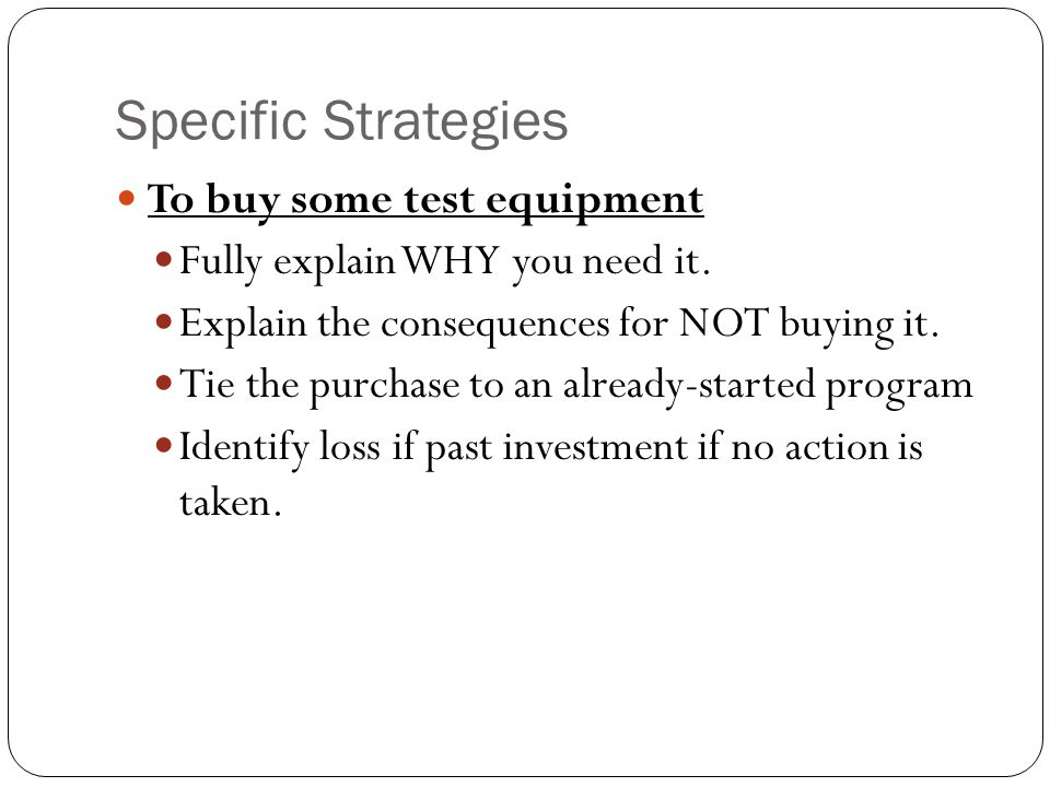 Specific Strategies To buy some test equipment