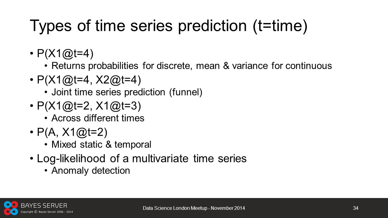 Types of time series prediction (t=time)