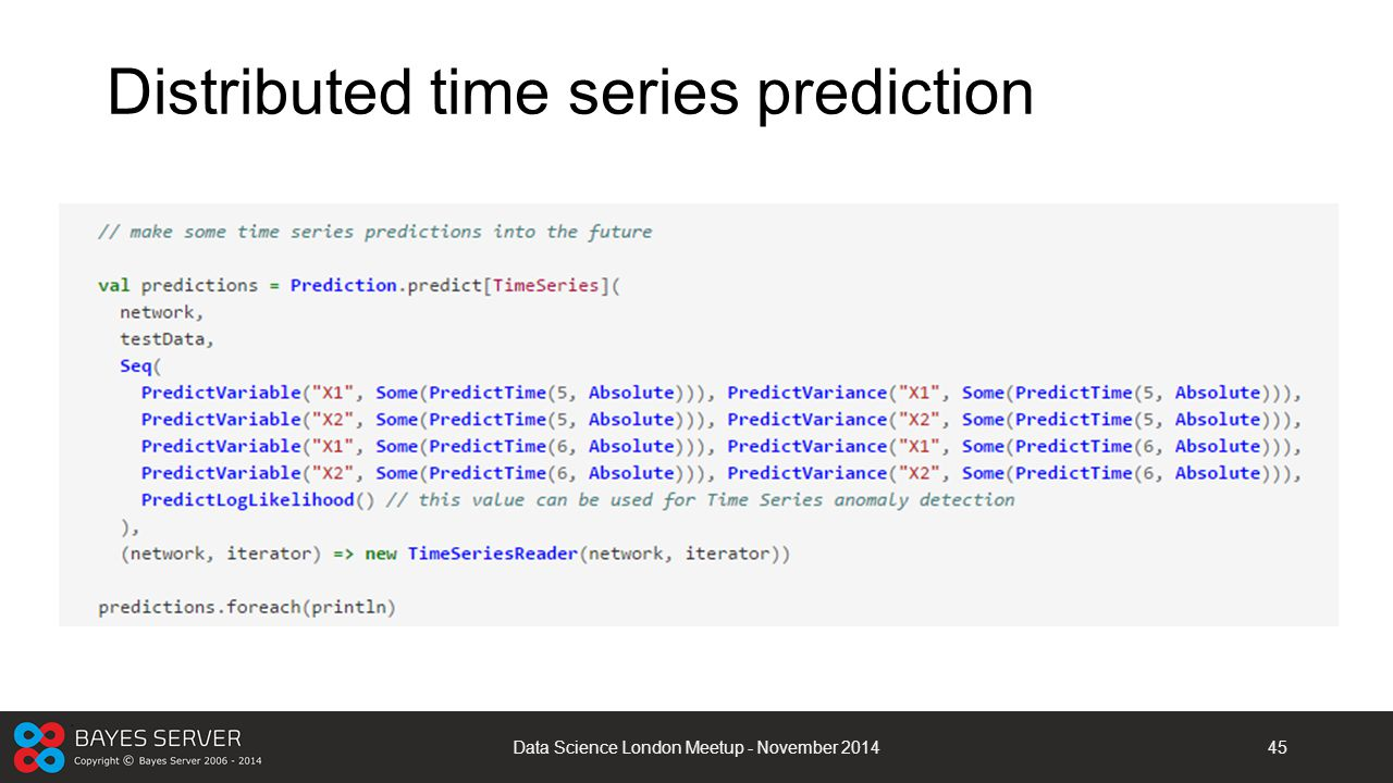 Distributed time series prediction
