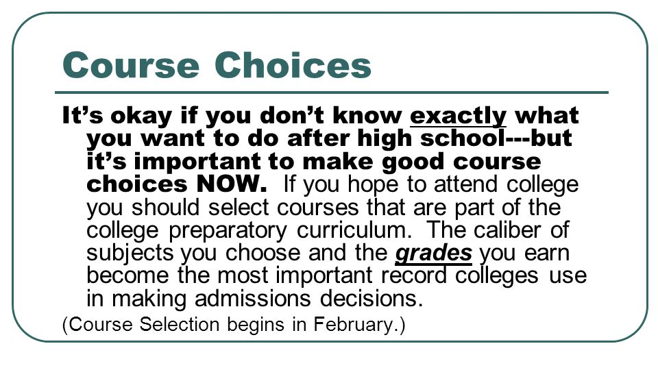 Course Choices
