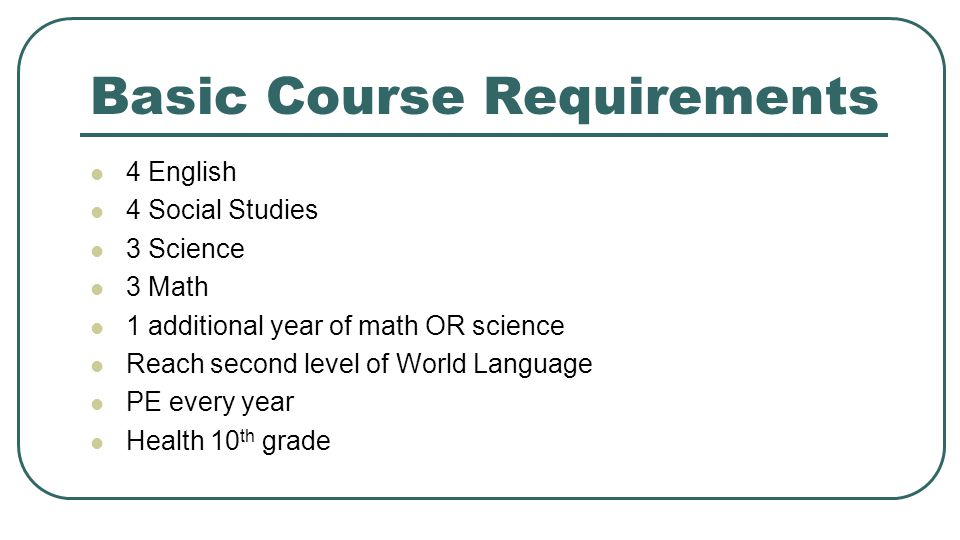 Basic Course Requirements