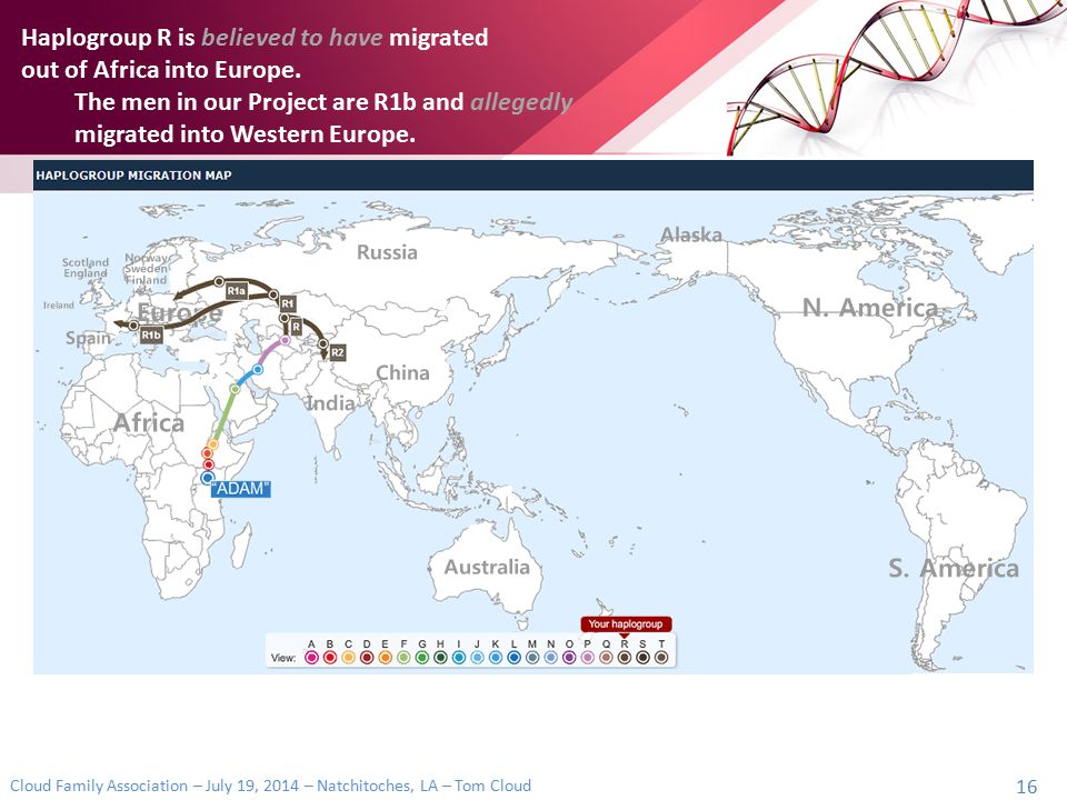 Haplogroup R is believed to have migrated