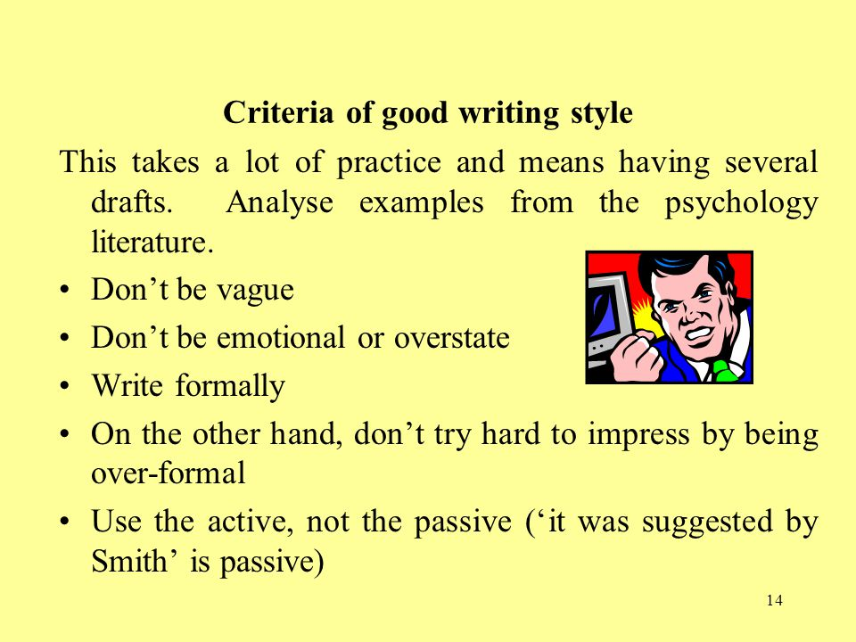Criteria of good writing style
