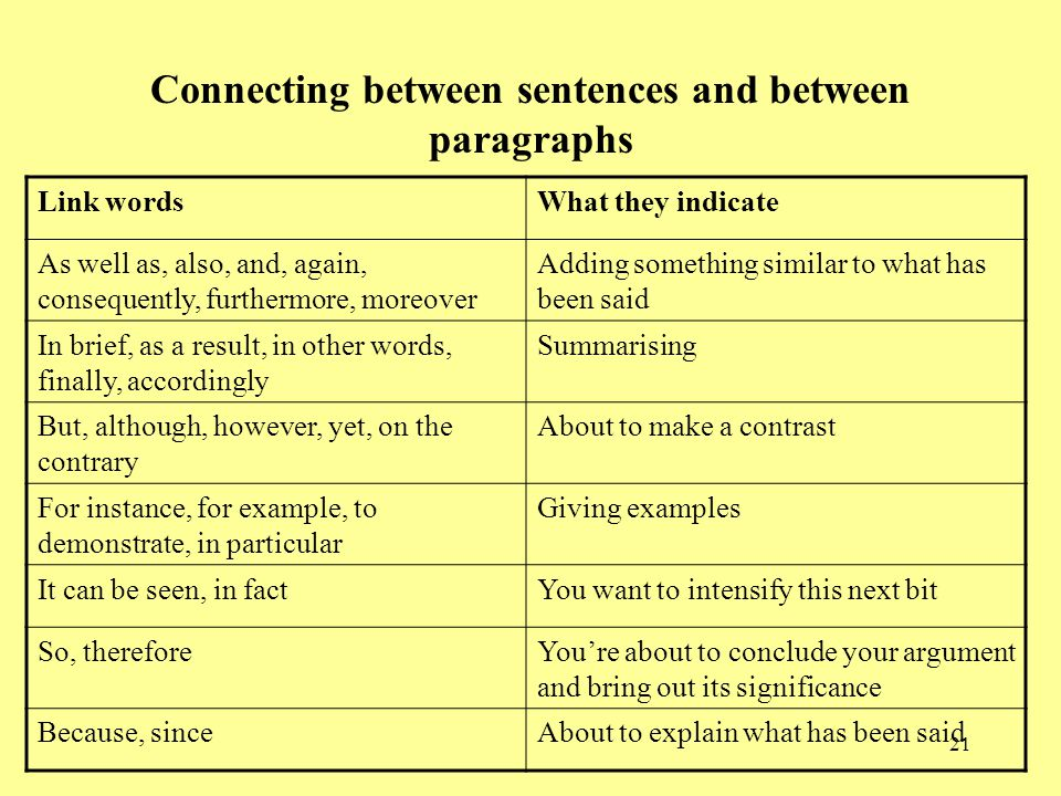 Connecting between sentences and between paragraphs