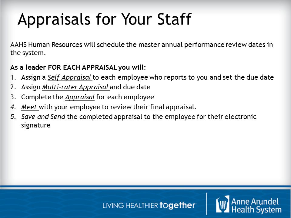Appraisals for Your Staff