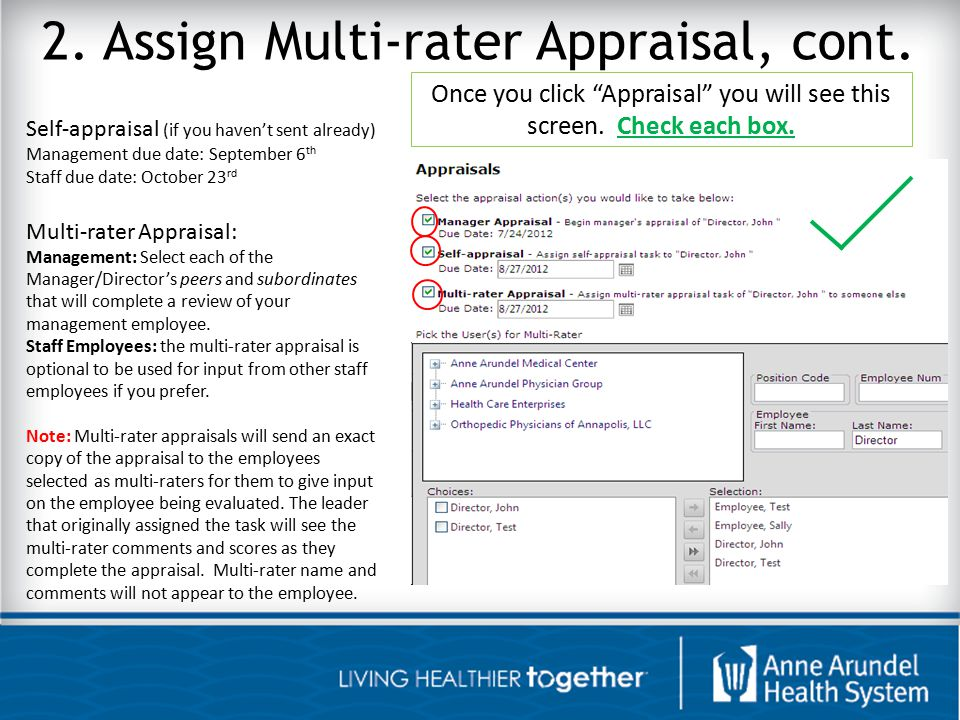 2. Assign Multi-rater Appraisal, cont.