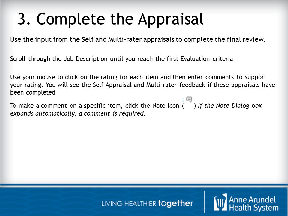 3. Complete the Appraisal