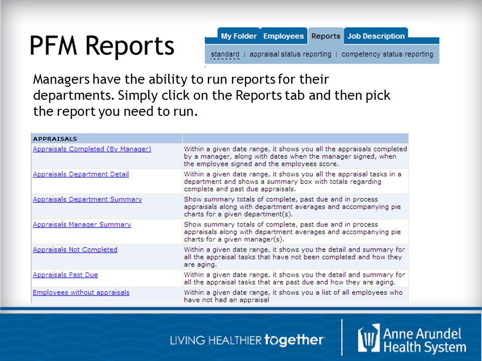 PFM Reports Managers have the ability to run reports for their departments.