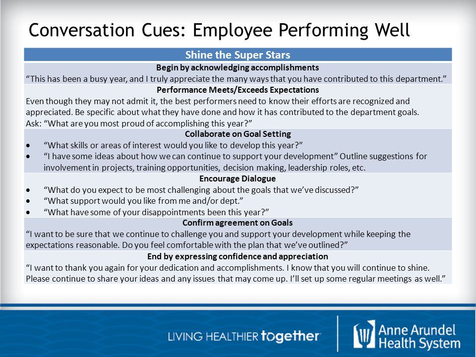 Conversation Cues: Employee Performing Well