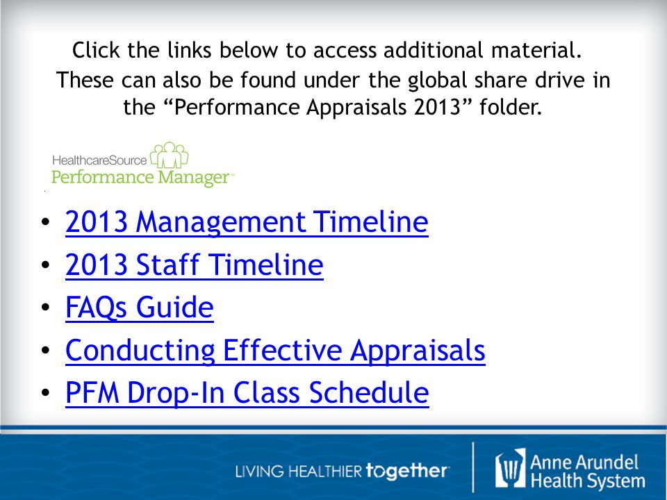 Conducting Effective Appraisals PFM Drop-In Class Schedule