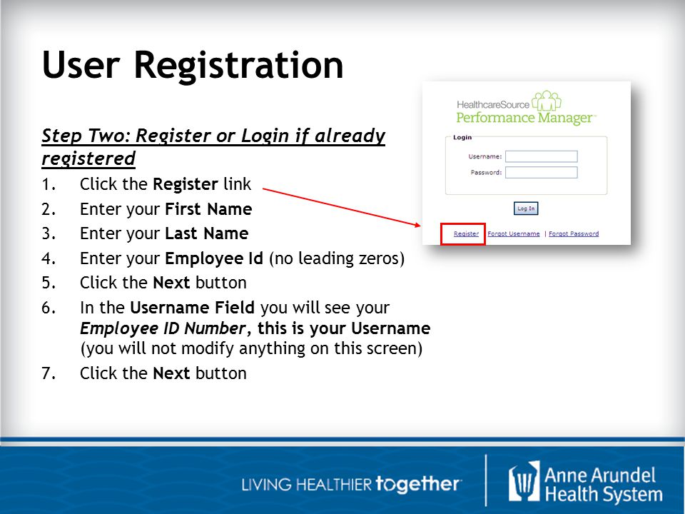 User Registration Step Two: Register or Login if already registered