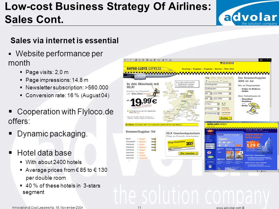 Low-cost Business Strategy Of Airlines: Sales Cont.
