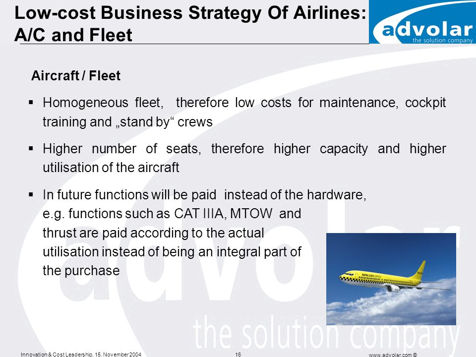 Low-cost Business Strategy Of Airlines: A/C and Fleet