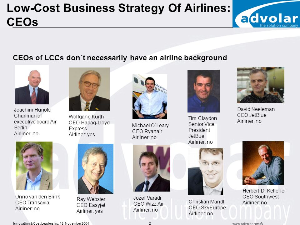 Low-Cost Business Strategy Of Airlines: CEOs