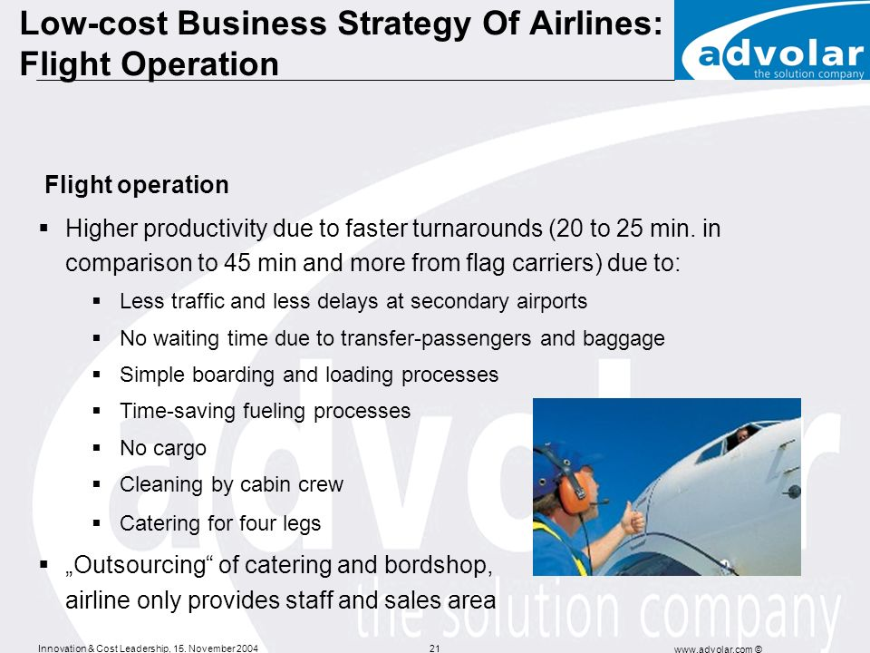 Low-cost Business Strategy Of Airlines: Flight Operation