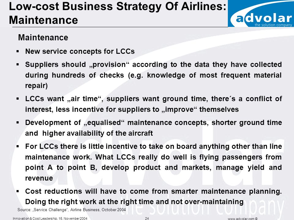 Low-cost Business Strategy Of Airlines: Maintenance