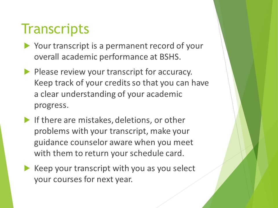 Transcripts Your transcript is a permanent record of your overall academic performance at BSHS.