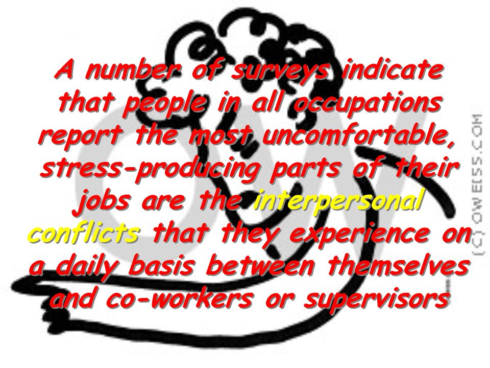 A number of surveys indicate that people in all occupations report the most uncomfortable, stress-producing parts of their jobs are the interpersonal conflicts that they experience on a daily basis between themselves and co-workers or supervisors
