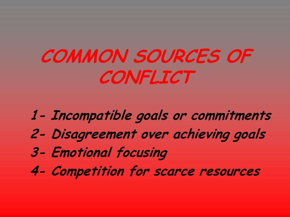 COMMON SOURCES OF CONFLICT