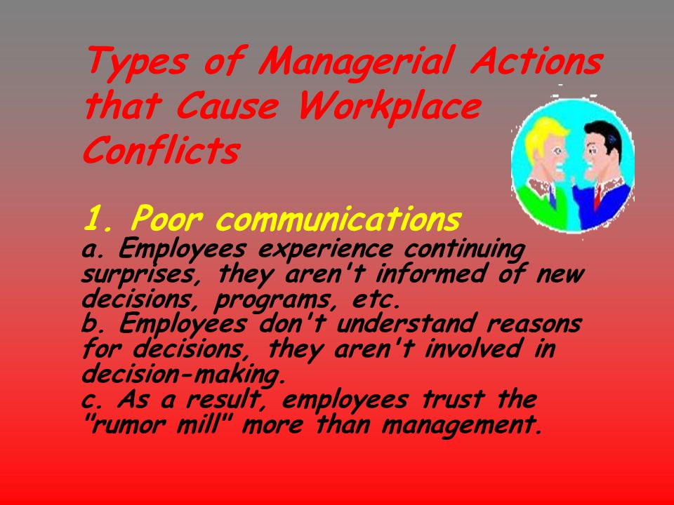 Types of Managerial Actions that Cause Workplace Conflicts