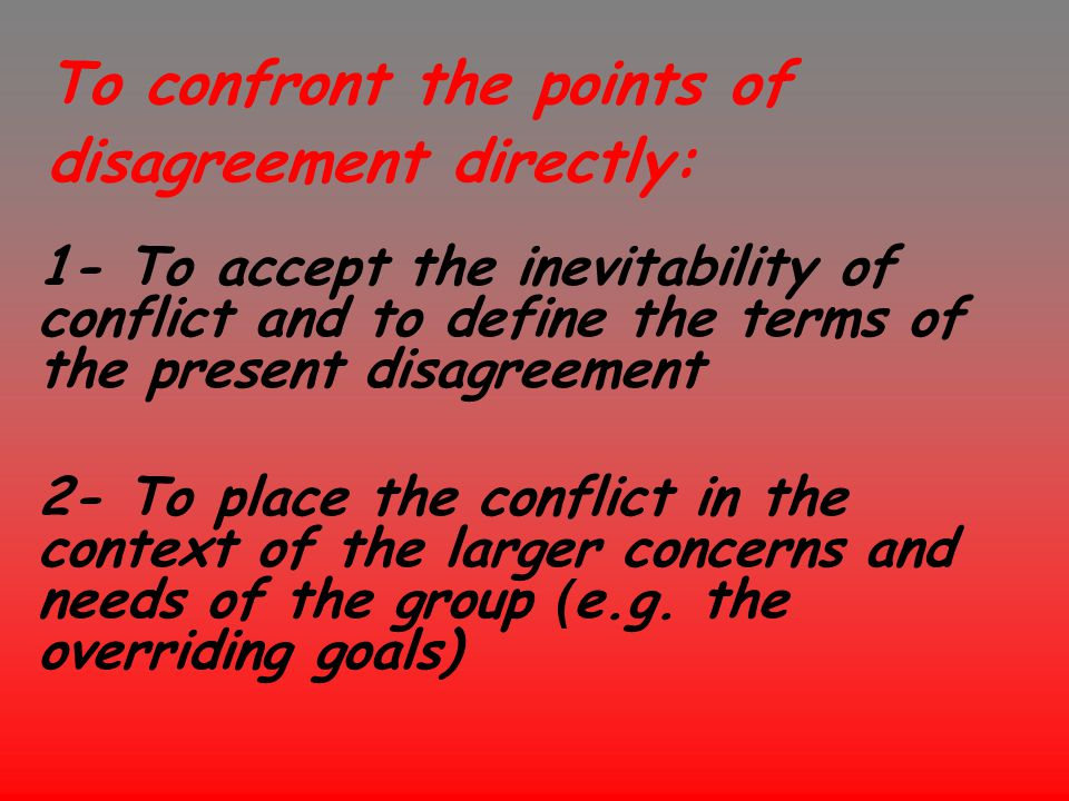 To confront the points of disagreement directly: