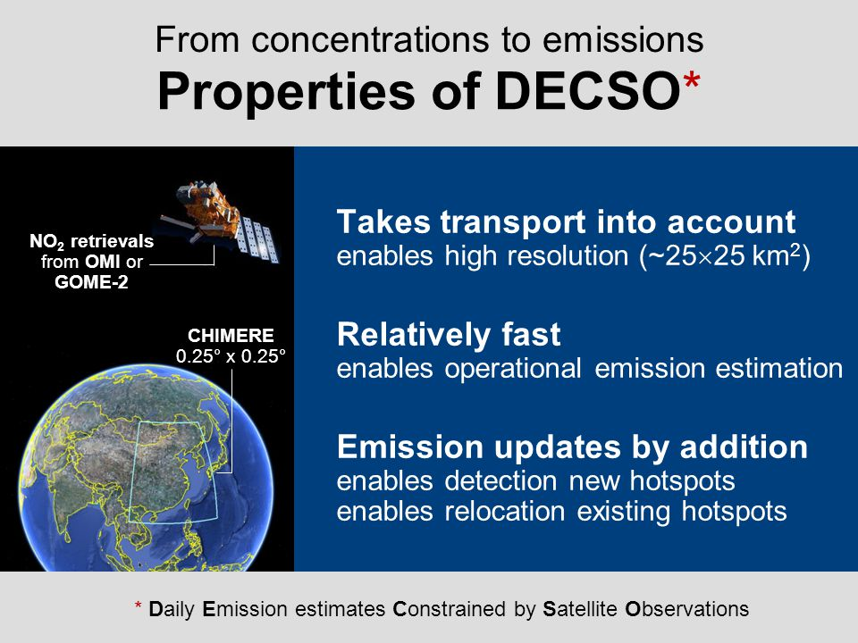 Properties of DECSO* From concentrations to emissions
